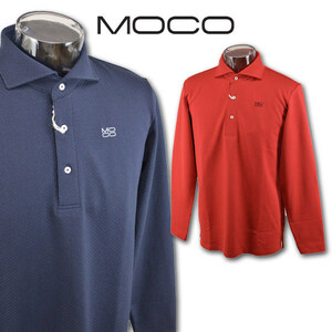 3割引【モコ MOCO】メンズ 長袖ポロシャツ M(48) 紺 212182910-98 MOCO ゴルフ 日本製 おしゃれ かっこいい @