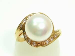 ◆K18アコヤ本真珠、ダイヤリング 9,0ミリ【新品】◆◆創業54周年!◆◆税込み超特価【送料無料】♪♪