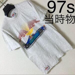 90s◆Red Bull レッドブル◆F1 ザウバーペトロナス Tシャツ 97s S 白 杢グレー 当時物 コピーライト入 オフィシャル 本物 フォーミュラー1