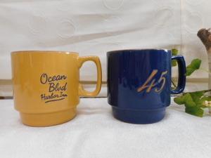 マグカップ ペア 「ベリストリートマグ」 黄色&青色 重ね収納 雑貨屋 日本製 未使用品