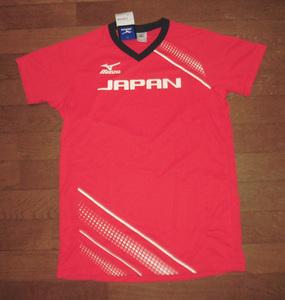 MIZUNO ミズノ JAPAN 日本代表 半袖 Vネック ドライ Tシャツ RED S 紙タグ付 未使用品/ジャパン五輪オリンピック世界選手権