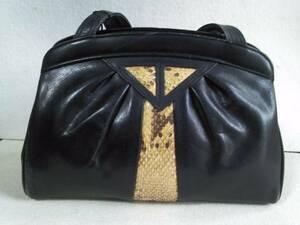 Niger 大人系ハンドバッグ。 蛇革&牛革コンビ 黒
