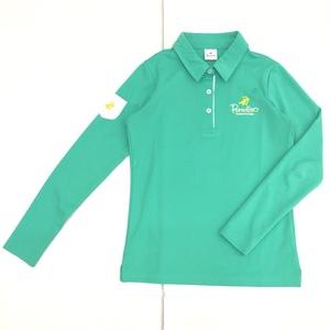 美品 Paradiso パラディーゾ 吸水速乾 ロゴ刺繍 ドライ ゴルフシャツ S 緑 グリーン レディース ポロシャツ 長袖 日本製 国内正規品