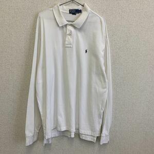 POLO RALPH LAUREN ポロラルフローレン 長袖ポロシャツ ホワイト 白 ビッグサイズ XXL コットン