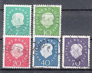 西ドイツ 1959年使用済み 普通切手/連邦大統領/ホイス#302-306/2