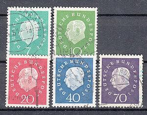 西ドイツ 1959年使用済み 普通切手/連邦大統領/ホイス#302-306/3