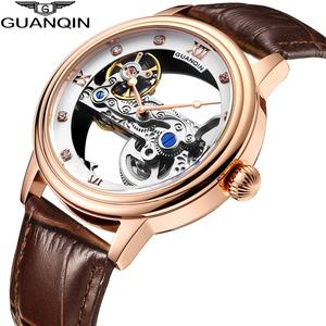 GUANQIN・発光・自動巻・メンズ・レザーストラップ・トゥールビヨンタイプ・腕時計