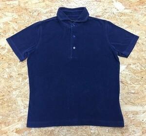 【日本製】 R&BLUES Mサイズ レディース ポロシャツ ホリゾンタルカラー タオル地風 半袖 カットソー 綿×ポリエステル ネイビー 紺