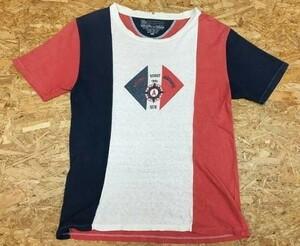 SLAP SHOT スラップショット Sサイズ メンズ Tシャツ ラウンドネック 切り替えし生地 フロントプリント 英字 半袖 オフホワ×薄赤×紺
