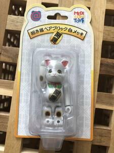 招き猫 白メッキ ベアブリック/BE@RBRICK 100%(メディコムトイ・フィギュア)