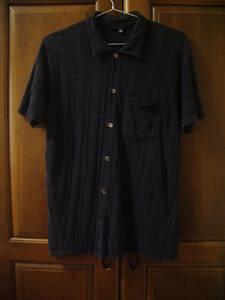 HELMUT LANG ヘルムートラング Plaid Short Sleeve Box Cut Shirt Navy チェック織 半袖 シャツ M ネイビー 初期 イタリア製