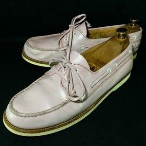【即決】LOUIS VUITTON ルイヴィトン メンズ デッキシューズ 8.5 ダミエ ピンク レザースニーカー 本革 革靴 ビジネス 本皮 カジュアル