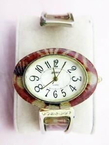 grace グレース 腕時計 EP-578 金色/赤色 文字盤白色 クオーツ 3針 レディース バングルタイプ 除菌クリーニング済 稼働品 ★t405★