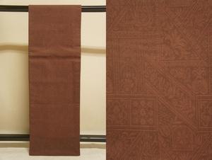 特選インドシルク栗梅色抽象模様未着用京袋帯[N12618]