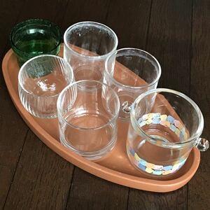 観葉植物用「ミニガラスポット鉢 おまとめ6点セット」楕円型受皿おまけ♪★中古品