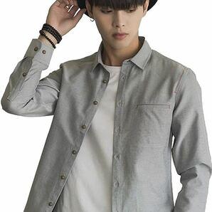 シャツ メンズ 長袖 カジュアルシャツ 無地 レッドステッチ オックスフォードシャツ ビジネス通勤 スリム Lサイズ=日本Sサイズ(グレー)