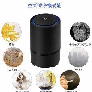 空気清浄機 イオン発生 脱臭 殺菌 花粉 PM2.5対応 ホコリ タバコの煙除去 USB給電 省エネ ワンタッチ簡単操作 HEPAフィルター付き (黒)