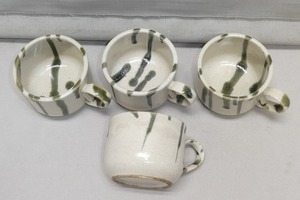 ●陶器 スープカップ コーヒーカップ 4客 緑釉 洋食器 和食器●碗