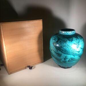 Персидская ваза Green Fish Crest с коробкой