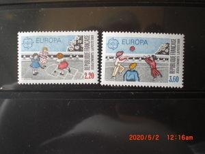 ヨーロッパ切手ー子供の遊び 2種完 1989年 未使用 フランス・仏国 VF/NH