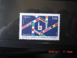 全欧会議第1回選挙ー参加国の国旗 1種完 1979年 未使用 フランス・仏国 VF/NH