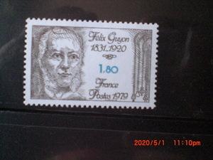 フランス偉人切手ーフェリックス・ギョン 1種完 1979年 未使用 フランス・仏国 VF/NH