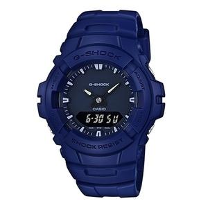 【海外モデル】カシオ G-SHOCK Gショック ジーショック 時計 メンズ 腕時計 強い耐久性 防水 多機能 アナデジ ブルー 青 G-100CU-2A
