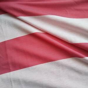 難有り布地カ96■145×120■赤×白スポーツニット吸発汗ポリエステル生地ボーダー