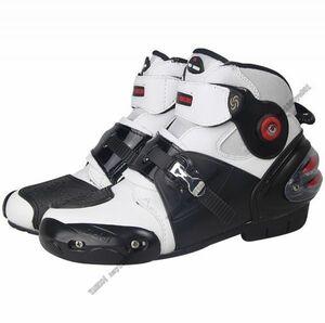 ライディングシューズ オンロード レーシングブーツ メンズ バイク用ツーリング プロテクト オートバイ靴 ショート  白・40サイズ/250mm