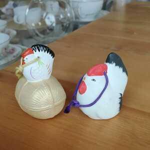 鶏 鳥 にわとり 土鈴 酉年 土人形 2個セット 清荒神 土人形 干支 郷土玩具 民芸 縁起物 置物 コレクション 昭和レトロ 焼物