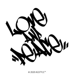 ゆうパケット送料無料 LOVE AND PEACE オリジナル カッティングステッカー 愛と平和 タギング ステッカー レゲエ ワンラブ ピース REGGAE