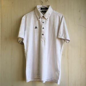 美品 lecoq sportif ルコック ゴルフ 半袖 ポロシャツ メンズ L 白 柄物 派手 人気 オシャレ カジュアル メンズ スポーツ