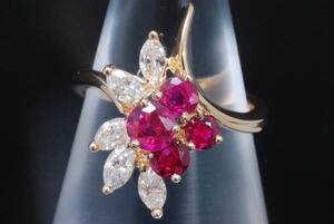 ショーメ CHAUMET K18YG イエローゴールド ルビー ダイヤモンド リング 指輪