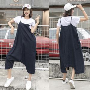 オーバーオール サロペットスカート デニム風生地 ブラック 大きいサイズ
