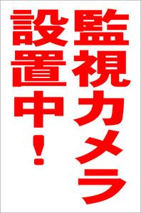 シンプル縦型看板「監視カメラ設置中(赤)」【防犯・防災】屋外可