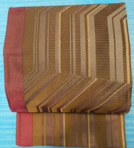 ★Fー44 ★ 美品 証絹袋帯 金のラメ入り 焦げ茶 グレー 緑 えんじストライプ 縞模様  訪問着