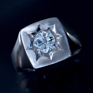 F1617 美しい天然大粒ダイヤモンド0.97ct 最高級プラチナ850無垢セレブリティメンズリング サイズ19号 重量22.2g 縦幅13.5mm