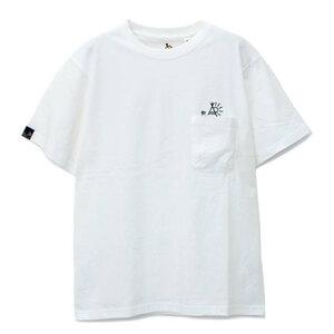 go slow Caravan ゴースローキャラバン ロゴ USAコットン 立体ポケットひょっこり刺繍 Tシャツ 白 3サイズ(M) 新品即決
