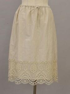 シビラ Sybilla コットン レース刺繍 スカート Mサイズ オフホワイト レディース F-M11701