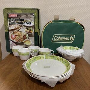 レア 新品 未使用 コールマン 廃盤 メラミン テーブルウェア セット カップ ボウル プレート バッグ ケース付き キャンプ 送料無料