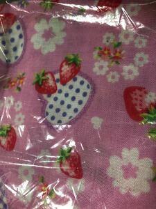 ダブルガーゼ 苺柄 ピンク 110×50