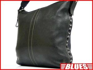 即決★COACH★オールレザーショルダーバッグ オールドコーチ メンズ 黒 ブラック 本革 かばん 本皮 カバン 鞄 トラベル レディース