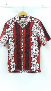 Royal Hawaiian Creations ロイヤルハワイアンクリエーションズ アロハシャツ Sサイズ ハワイ製 木製ボタン ハイビスカス柄 レッド