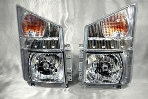 レベライザー付 ハロゲン ヘッドライト + コーナー レンズ 4点セット いすゞ 07 エルフ ワイドキャブ 平成19年1月~ クリスタル ウィンカー