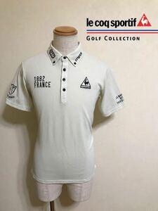 【良品】 le coq sportif GOLF ルコック ゴルフ コレクション ボタンダウン ポロシャツ トップス サイズL 半袖 デサント QG2821 クリーム系