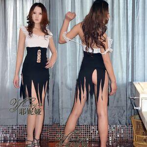 訳有新品 未使用 送料無料8029フリフリワンピース Tバック フロントオープンコスプレ紐で編み上げ おへそが見え メイド衣装 ダンス衣装派手