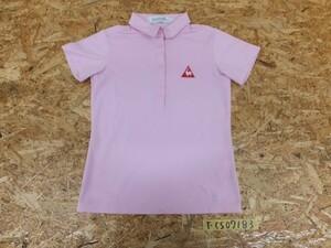 <送料280円>le coq sportif ルコックスポーティフ レディース ロゴ刺繍 ハーフボタン 半袖ポロシャツ XS ピンク