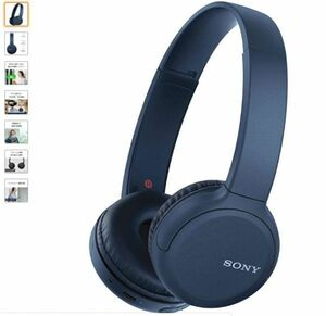 SONY WIRELESS HEADPHONES WH-CH510 / bluetooth / AAC / MAX35HRS PLAY 2019 MODEL / WITH MIKE /BLUE WH-CH510 L