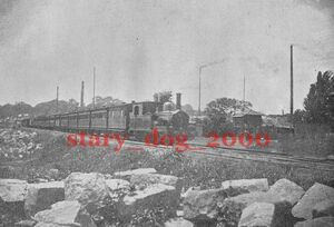 複製復刻 絵葉書/古写真 東京 芝浦付近を走る蒸気機関車 汽車 鉄道 明治末期 TY_0024