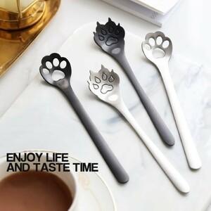 S122 『1ピース』かわいい 猫 足 犬 コーヒー スプーン デザート スプーン 長い スプーン ロング ハンドル スプーン ティー スプーン
